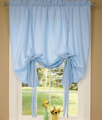 Savannah Seersucker Tie-Up Curtain in white for LGs room