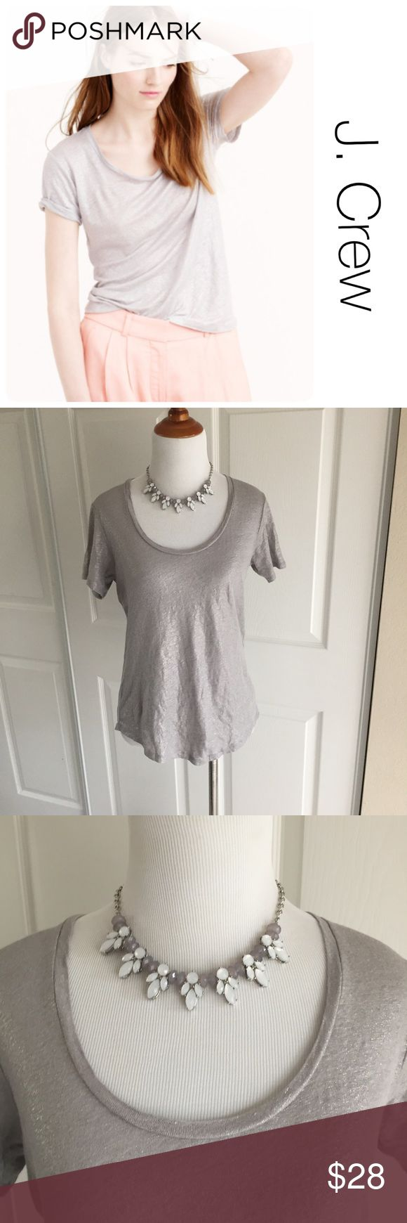 J. Crew Linen Silver Metallic Shirt XS ♦️Excellent condition. No holes, stains or piling ♦️Materials- 100% linen♦️Measurements:                               ♦️Laying flat armpit to armpit: approximately inches   ♦️Laying flat from the back of the neck to the bottom of the front hem is approximately inches J. Crew Tops Tees - Short Sleeve