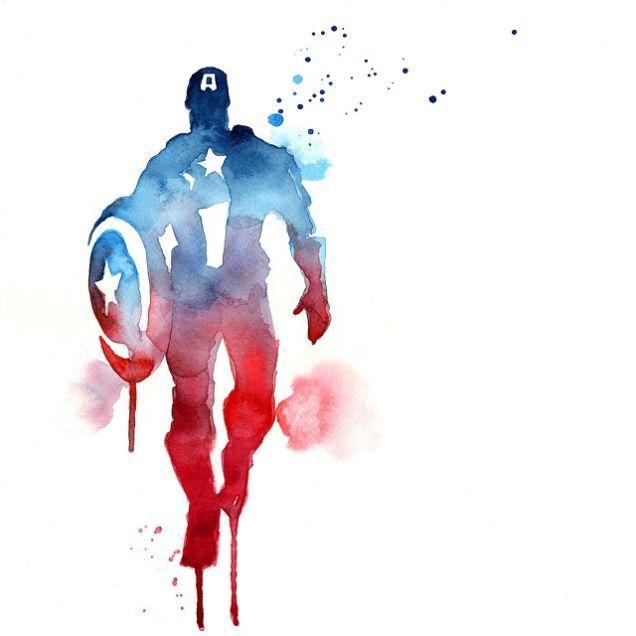 Capitão América em aquarela