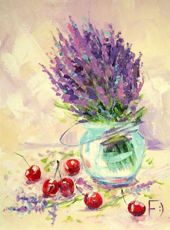 Картины с лавандой - Сладкий аромат лаванды, 30 х 40 см.