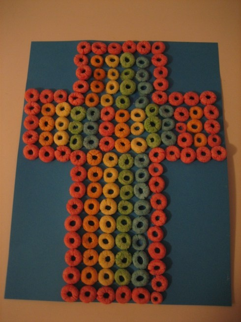 cereal cross: Children Church, Crafts Ideas, Sunday Schools, Img 7414, Easter Crafts, Kids Crafts, Crosses Crafts, Cross Crafts, Easter Ideas