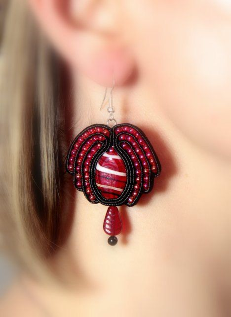 Red Jewelry Soutache Jewelry Soutache Earrings Poppy by Herinia, $35.00