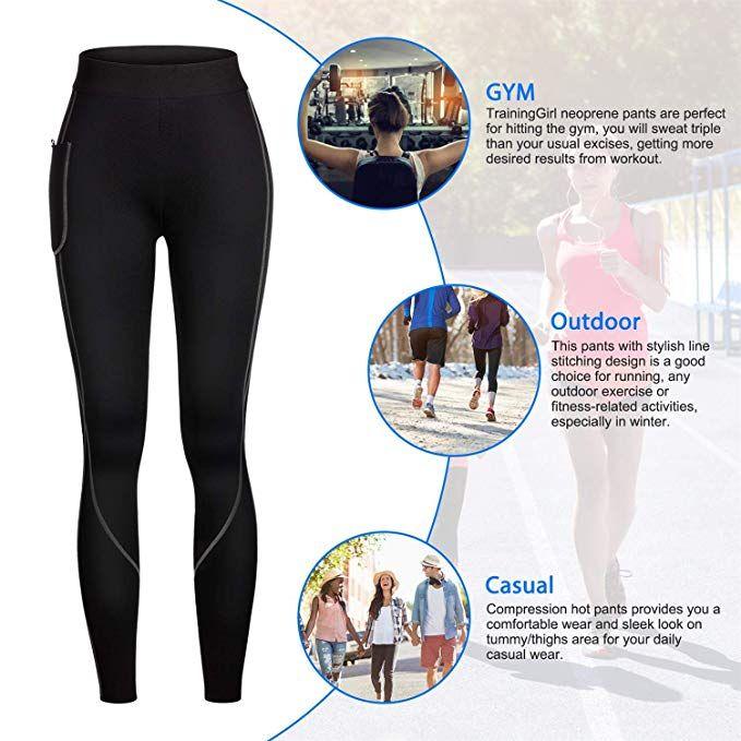 56d4c8cdb9 Amazon.com  Women Weight Loss Hot Neoprene Sauna Sweat Pants with Side  Pocket Workout Thighs Slimming Capris Leggings Body Shaper  Clothing