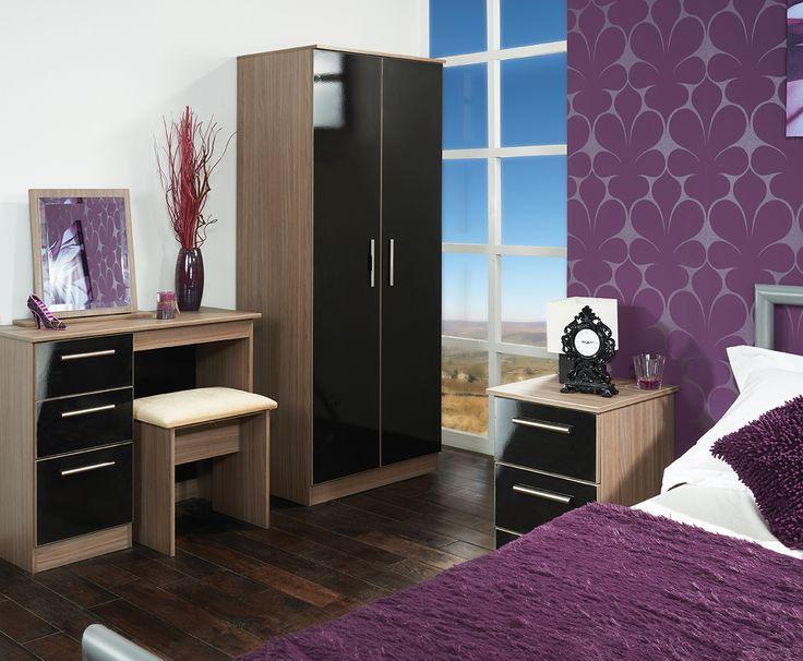 Best Contrast Bedroom Furniture Images On Pinterest Bedrooms - Purple high gloss bedroom furniture