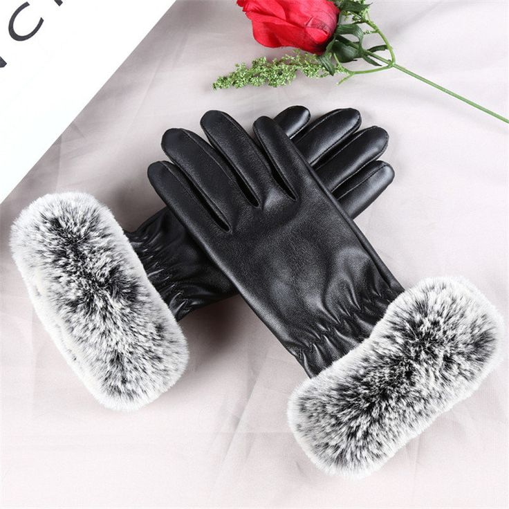 Women Ladie Faux Fur Artificial PU Leather Screen Touch Windproof Gloves Mittens at Banggood  #women #fashion #accessories
