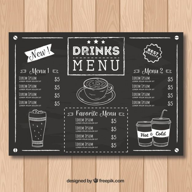 Restaurant Menu Template In Blackboard Style Free Vector Restaurant Menu Template Coffee Menu Coffee Shop Menu