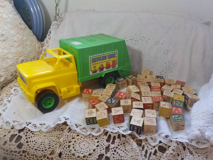 Processed Plastic Company Plastic Recyclable  Truck with Wooden Toy Blocks /Not Included in Coupon Sale by Daysgonebytreasures on Etsy