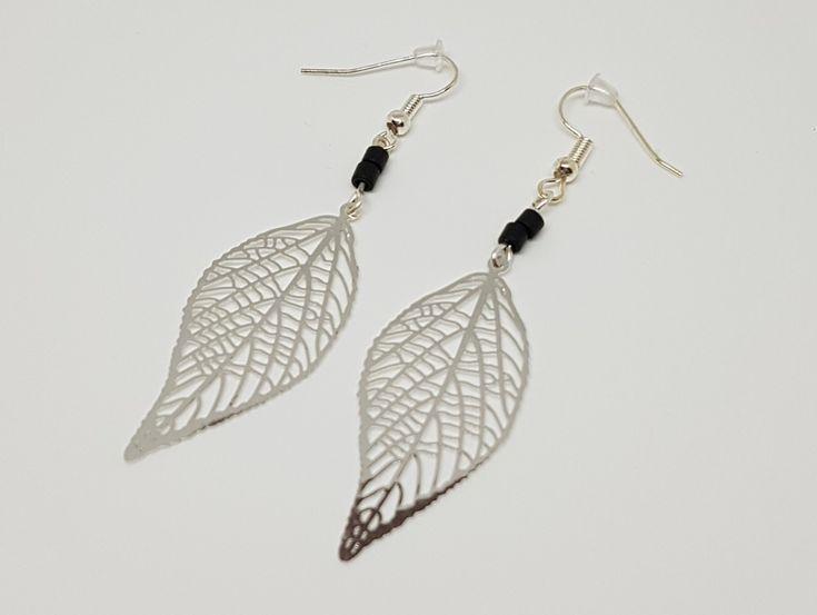 Boucles d'oreilles feuilles noir et argenté - estampe brillant perles miyuki idée cadeau anniversaire femme