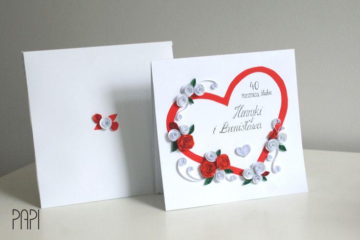 Ręcznie robiona kartka z okazji rocznicy ślubu handmade quilling z kwiatami różami z papieru