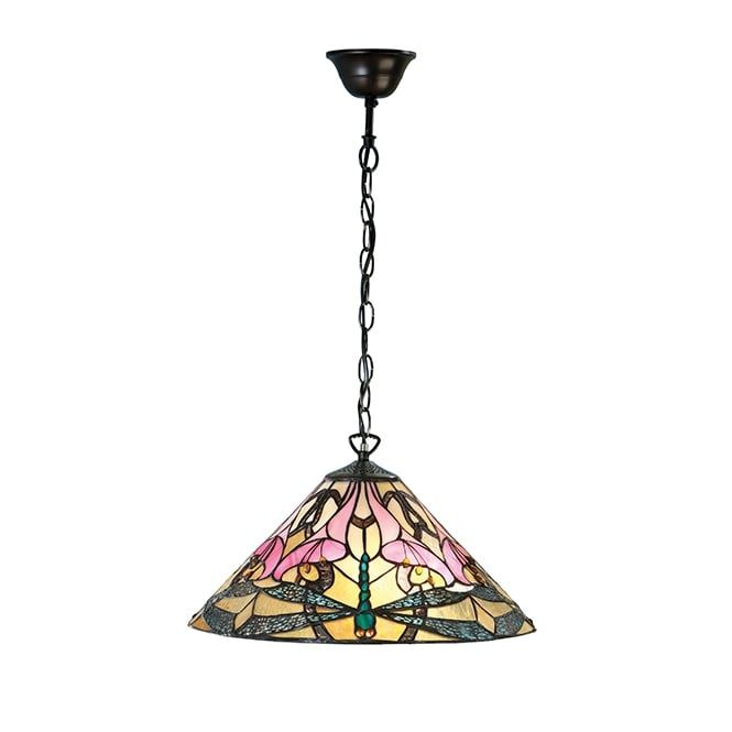 A decorative Tiffany glass ceiling pendant with a colourful and modern take on the traditional dragonfly design. The light is suspended on a bronze effect chain suspension which can be shortened at the point of installation for use in rooms with lower ceilings, this would be great for lighting over tables and kitchen islands. It is also suitable for use on a dimmer switch providing the bulb used is also dimmable.