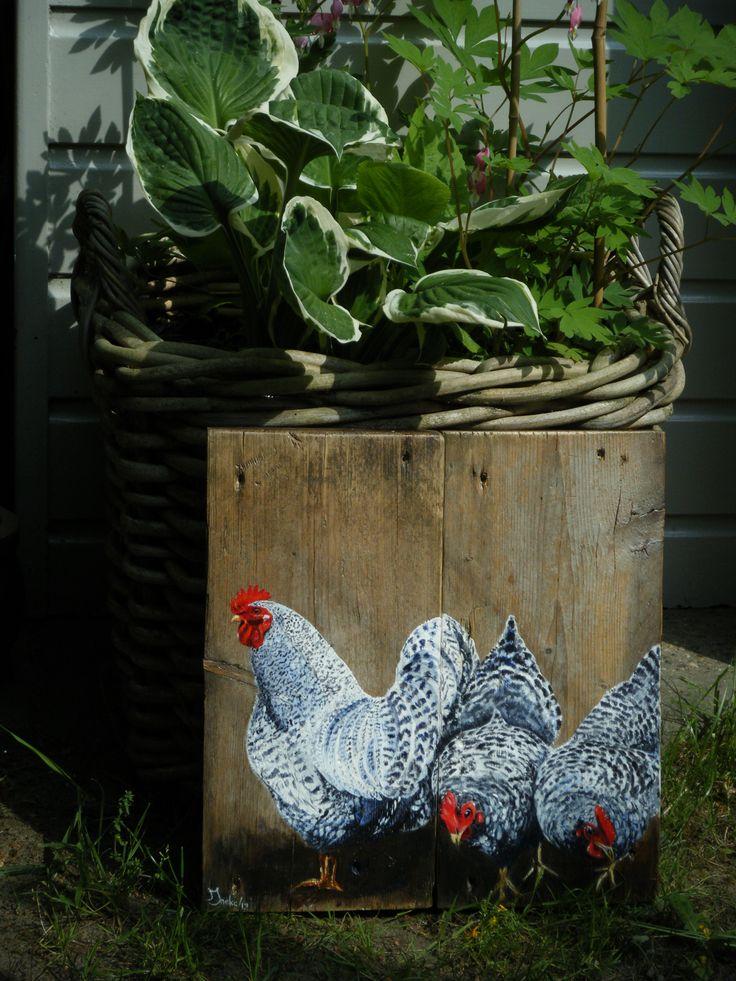 Twee kipjes en een haan ook op steigerhout. Ineke Nolles.