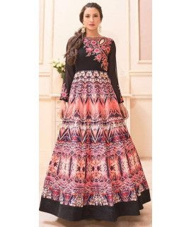 Glamerous Black And Multi-Color Silk Anarkali Suit.