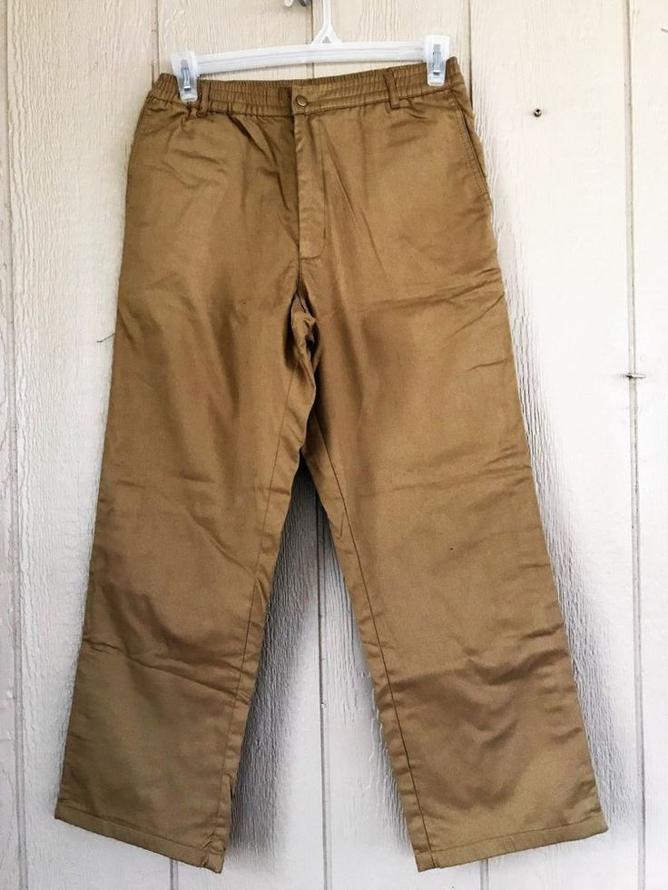 Nwt Haband's Ice House Mens Slacks Pants Protech Elastic Waist Flannel Lined 32S #Haband #FlannelLined