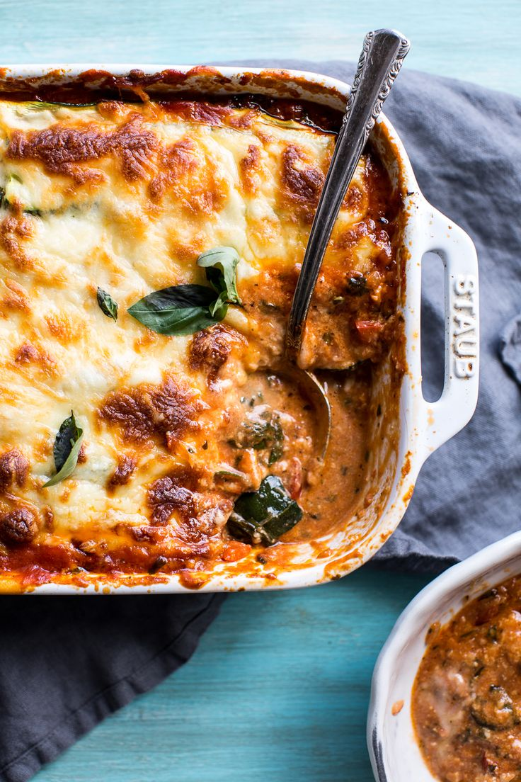"""This meatless lasagna gets hefty texture and bold flavor from a veggie-packed ragu and layers of zucchini """"noodles."""""""