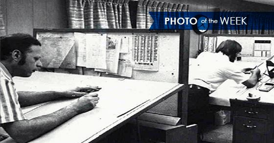 Photo of the Week: Drafters from the 1950s. In the early 1950s, drafters positioned themselves at drawing boards and used pen or pencil to create equipment drawings by hand. As technology advanced through the years, drawing boards were eventually replaced with modern computer-aided design (CAD) systems, allowing drafters to prepare drawings at a much faster rate. #drafter #drafting #engineer #engineering #design