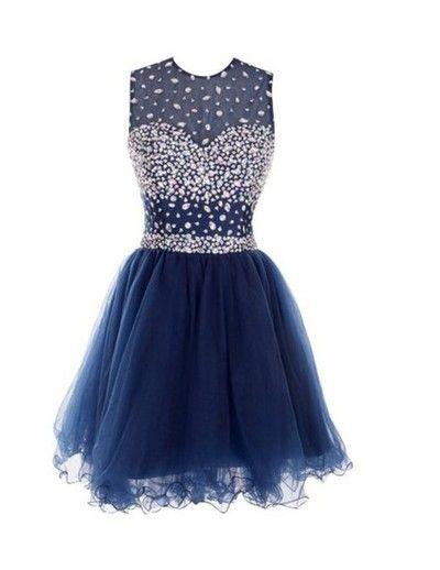 Round Neck prom dress,homecoming dress,Custom Made prom dress,A Line prom dress,Short prom dress,Dark Blue Prom Dresses,15051312