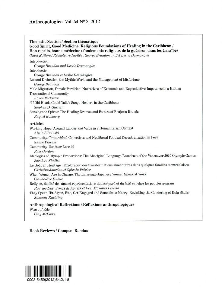 Antropologica v. 54, nº 2 (2012)