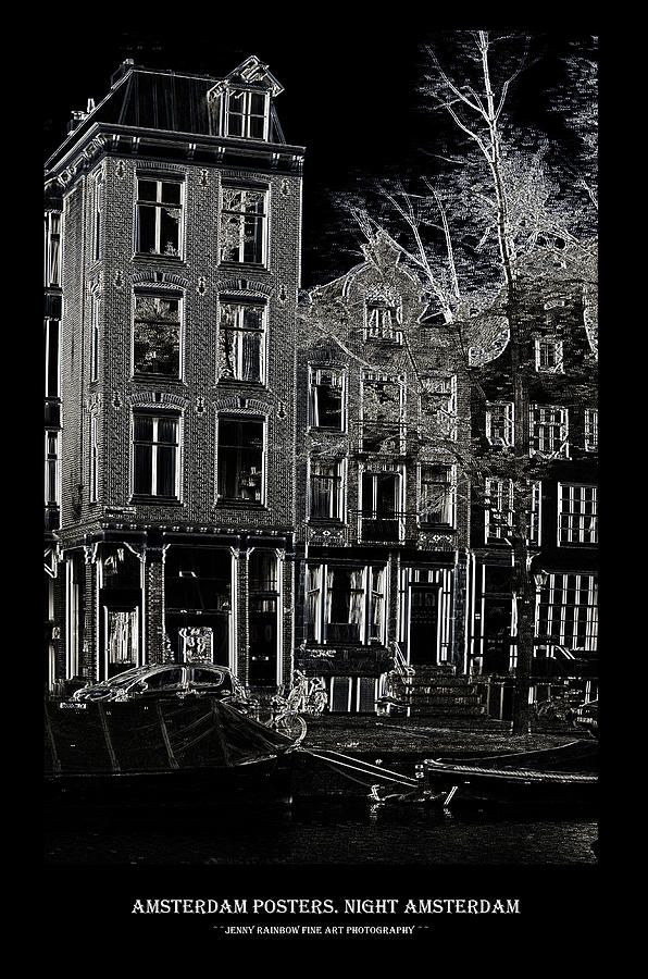 Amsterdam Posters. Night Amsterdam by Jenny Rainbow