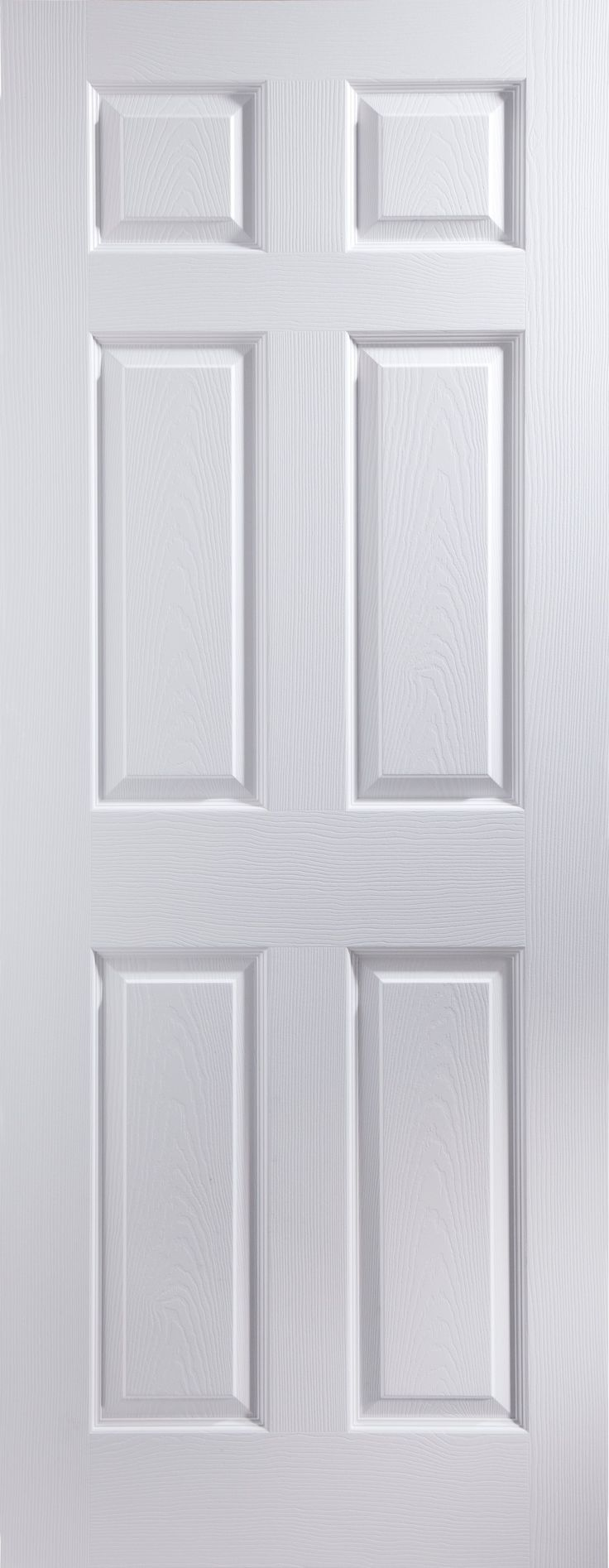 6 Panel Pre-Painted White Woodgrain Internal Door, (H)1981 (W)762mm   Rooms   DIY at B&Q