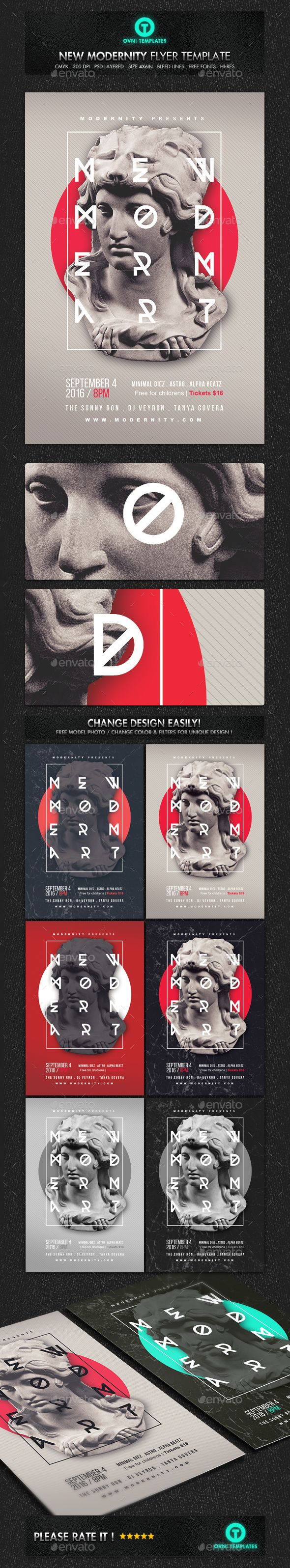 Modern Art Minimal Flyer Template PSD. Download here: graphicriver.net/...