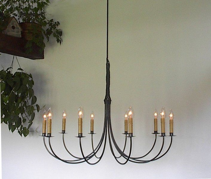 Large Wrought Iron Chandelier: Ace Wrought Iron Custom Large Wrought Iron Chandelier, 10 Arm Twisted, 36  Inch Dia,Lighting
