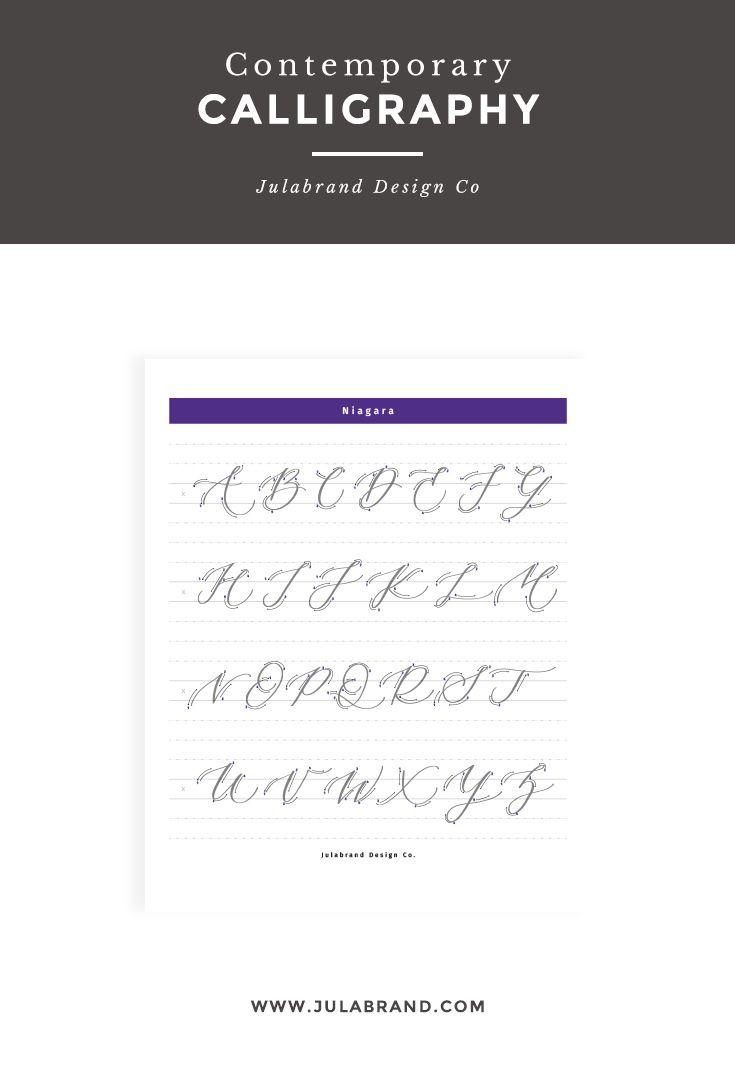 Niagara Uppercase Modern Calligraphy Guide Lettering Guide Modern Calligraphy Practice Modern Calligraphy Alphabet
