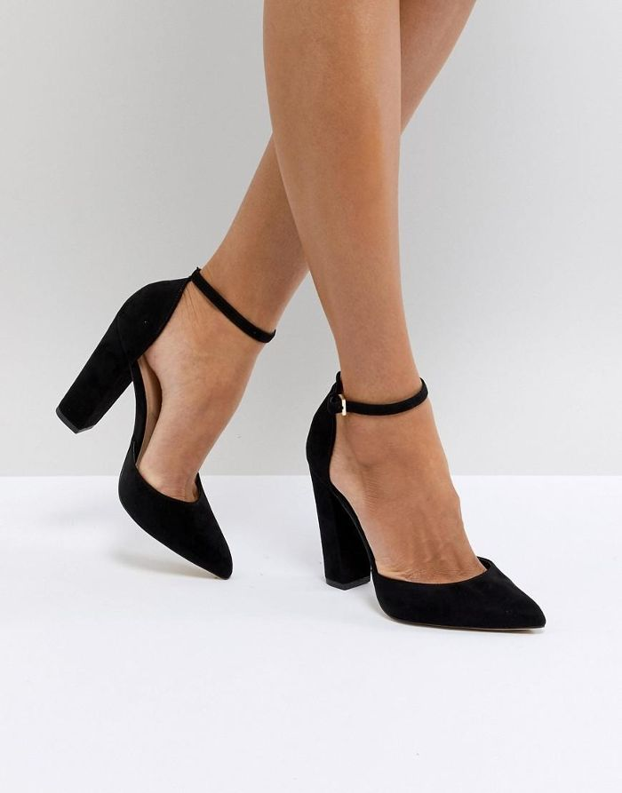 Aldo Nicholes Black Ankle Strap High Heeled Pointed Shoes Ankle Strap High Heels Fashion Heels Heels