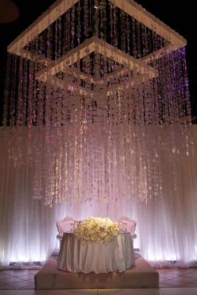 Create a breathtaking display by setting your sweetheart table under a dramatic beaded curtain. To really feel like the center of attention, affix a raised platform under your table and adorn with an overflowing floral centerpiece.