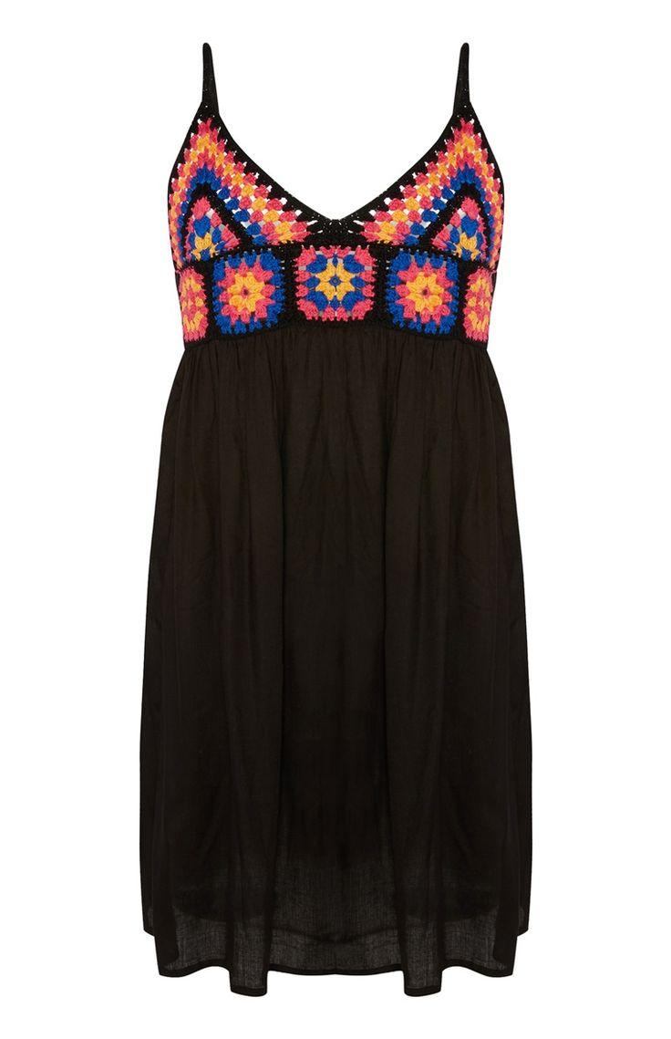 Primark - Zwarte jurk met gehaakte accenten