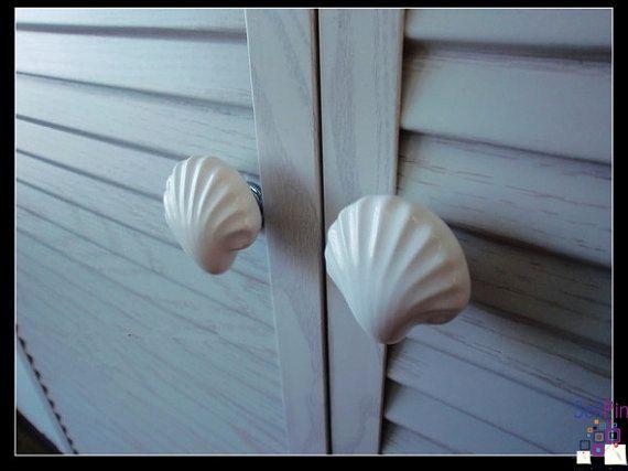 $6.50 : Large Drawer Knobs Shell Dresser Knob White Ceramic / Nautical Kitchen Furniture Cabinet Dresser Drawer Pulls Handles Ha