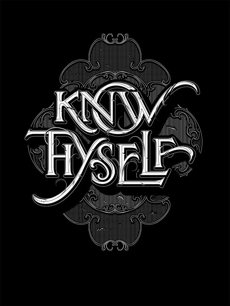 """Lettering depicting the ancient Greek aphorism """"Know Thyself"""" by Andreas Grey"""