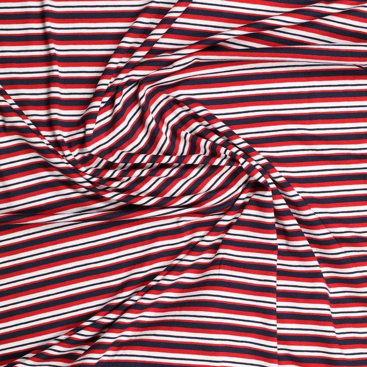 wit rood marine stretch tricot nautische streep