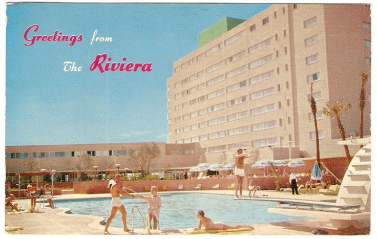 Greetings from The Riviera Hotel in Las Vegas, 1955 - opened April 20 1955 as the 1st highrise & 9th resort on the Las Vegas Strip
