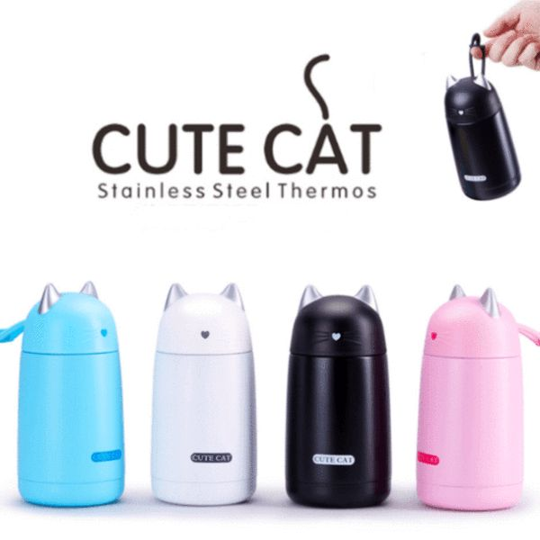 This Cat Thermos Mug is the ideal gift for cat lovers. Whether it's coffee, tea, or water you fancy, you will love drinking it out of this adorable cat thermos. The top is designed with cat ears, a heart nose, and cute whiskers. It will keep your beverage nice and hot or refreshingly cold.  #catlovers #cat #cats #cute