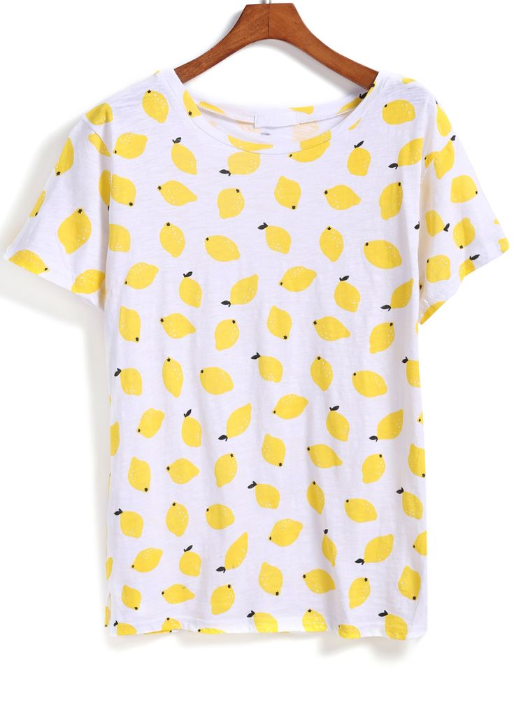 Shop Yellow Short Sleeve Lemon Print T-Shirt online. SheIn offers Yellow Short Sleeve Lemon Print T-Shirt & more to fit your fashionable needs.
