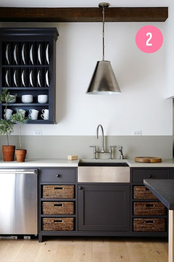 open storage & basket storage // farmhouse sink // bridge faucet // oversized pendant