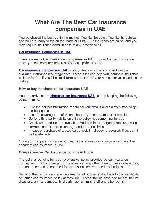 Best Motor Insurance Companies In Abu Dhabi Content Insurance Car Insurance Best Car Insurance Rates