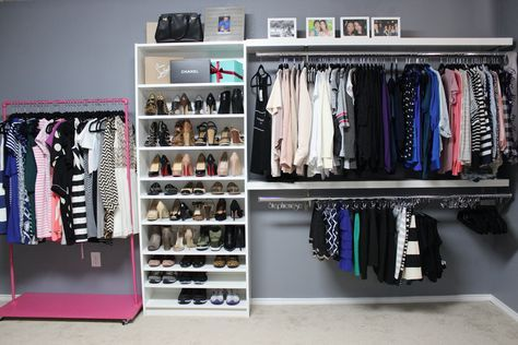 How to turn a spare bedroom into a dressing room or walk in closet.  DIY walk in closet/ dressing room for less than $250! Stephienese