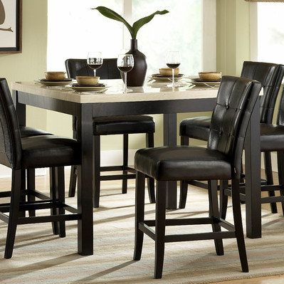 Homelegance Archstone 7 Piece Counter Height Dining Room Set W/ Black Chairs    From BEYOND Stores