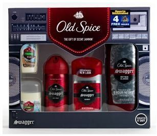 """Old Spice: Swagger Gift Set with Bonus """"Sports Illustrated"""" Subscription by Old Spice. $18.00. 2.25 oz Old Spice Swagger Invisible Solid Antiperspirant/Deodorant. 1.7 fl oz Old Spice Fresh Collections Fiji Body Wash - 0.5 oz Old Spice Fresh Collections Fiji Invisible Solid Antiperspirant/Deodorant. Old Spice Swagger Gift Set - Everything A Man Needs To Smell Fresh. 16 fl oz Old Spice Red Zone Swagger Body Wash - 4 oz Old Spice Red Zone Swagger Body Spray. ***Bonus 4-week """"Sport..."""