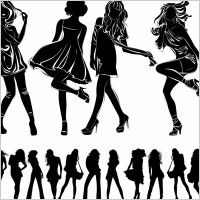 modern beauty black and white silhouette vector