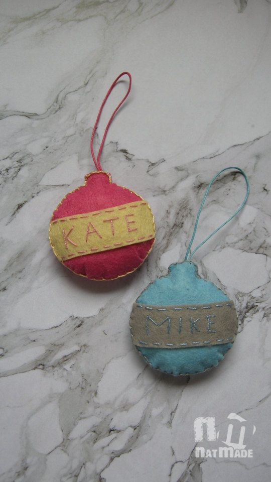 Personalized Christmas ornaments set of 2 felt christmas ornaments Christmas…