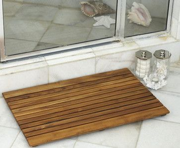 Bathroom and Shower African Teak Wood Mats tropical-bath-mats