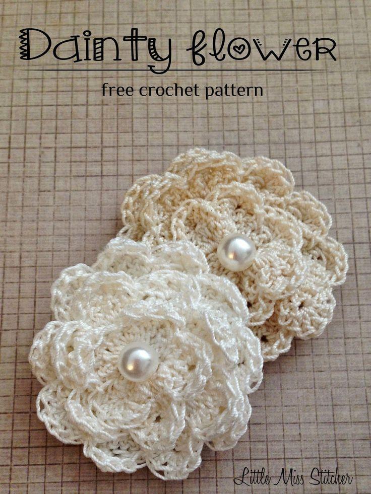 Little Miss Stitcher: Dainty Crochet Flower Free Pattern