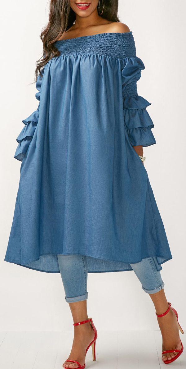 Flare Sleeve Bardot Blue Long Blouse