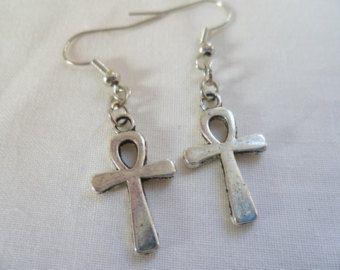 Ägyptische Ankh Silber Ohrringe Silber Kreuz von AzureAllure