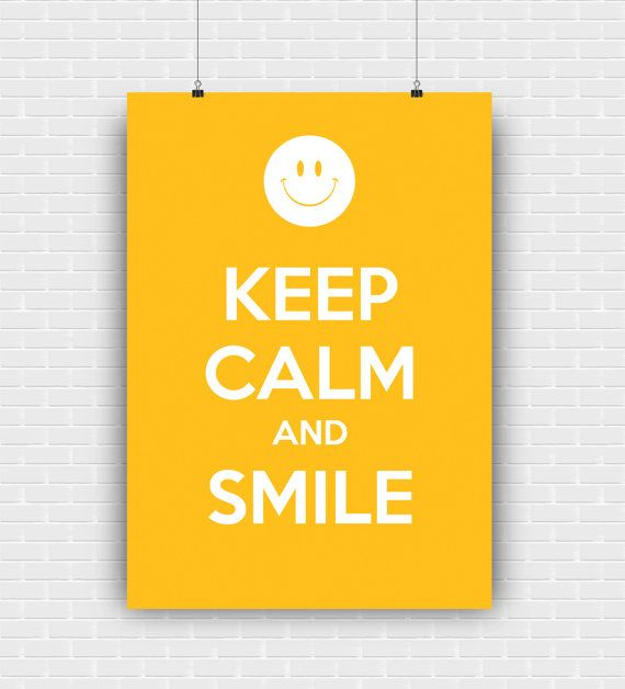 Keep calm and smile printable art quote design. by GraphicCorner