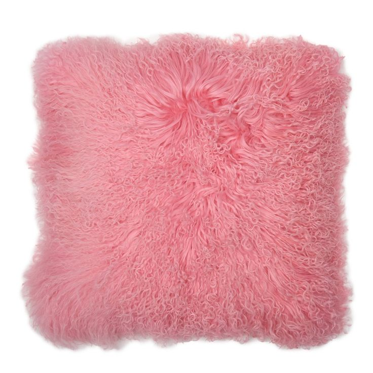 Bubblegum pinkMongolian fur pillow. Cream suede back. Arrivesstuffed with a down/feather insert.