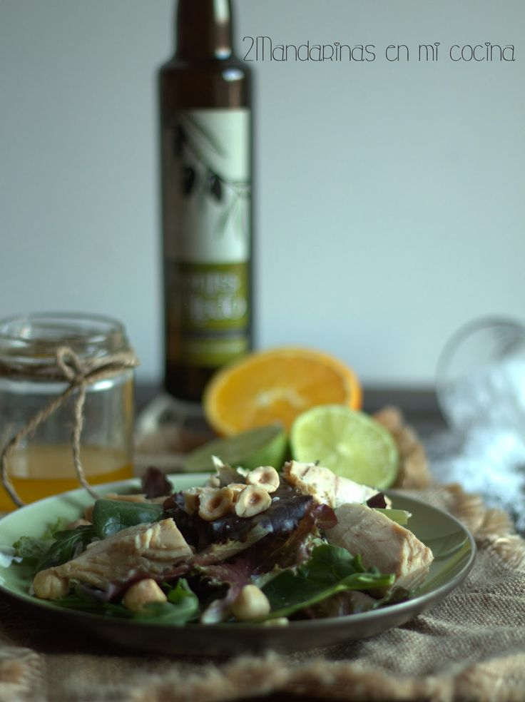 2Mandarinas en mi cocina: Ensalada de atún con vinagreta de cítricos y avellanas con AOVE cornicabra DO Montes de Toledo