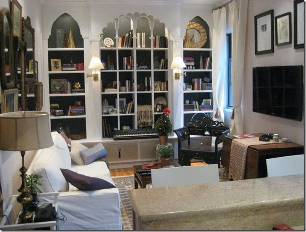 inspiration bookshelves & ethnic living room (Genevieve Gorder)